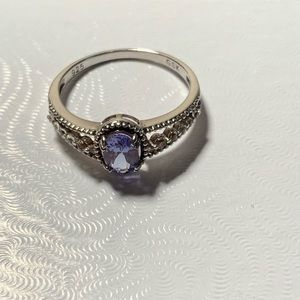Jewelry - 1 Carat Tanzanite and White Topaz Silver Ring